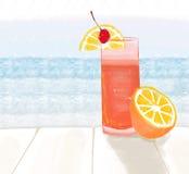 Ilkustration εάν ένα ποτήρι του τσαγιού στην άποψη ηλιοβασιλέματος Στοκ φωτογραφία με δικαίωμα ελεύθερης χρήσης