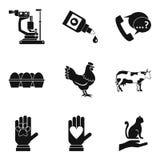 Ill animal icons set, simple style. Ill animal icons set. Simple set of 9 ill animal vector icons for web isolated on white background Royalty Free Stock Photos
