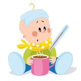 Ill baby. With headache and sore throat vector cartoon with temperature, hot tea Stock Photo