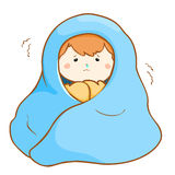 Ill boy shivering hard under blanket  Stock Images