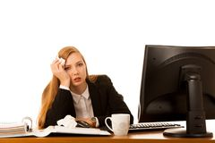 Ill business woman works in office - illness on work.  Royalty Free Stock Photo