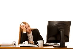 Ill business woman works in office - illness on work.  Royalty Free Stock Photography