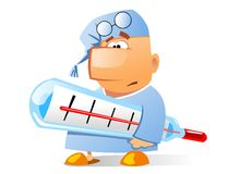Ill businessman. This is the illustration of sick patient with a thermometer. Isolated Royalty Free Stock Photo