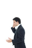 Ill businessman talking on the phone Stock Images
