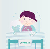 Ill child with broken hand in the hospital. Cute small child lying in the hospital bed with illness. Vector cartoon Illustration of child with broken hand Royalty Free Stock Photography
