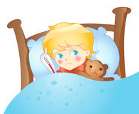 Ill_child_illustration. Sick boy in bed with a temperature illustration Stock Images