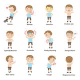 Ill child. Sick child character sets. Cartoon Vector illustration Royalty Free Stock Photography