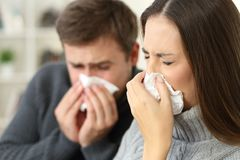 Ill couple coughing at home. Ill couple wearing sweaters coughing together sitting on a sofa in the living room in a house interior Stock Photos