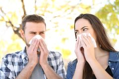 Ill couple suffering contagious flu outdoors. Front view portrait of an ill couple suffering contagious flu outdoors in a park royalty free stock images