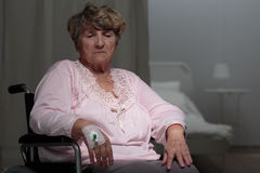 Ill disabled woman Stock Photo
