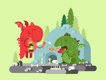 Ill dragon character. Animal funny with wing, monster comic, flat vector illustration Royalty Free Stock Photo