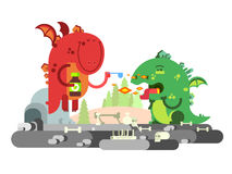 Ill dragon character Royalty Free Stock Images
