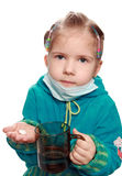 The ill girl accepts a medicine Royalty Free Stock Images
