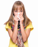 Ill girl with flu royalty free stock images