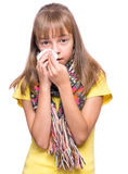 Ill girl with flu Royalty Free Stock Photography