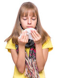 Ill girl with flu Stock Photos
