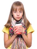 Ill girl with flu Royalty Free Stock Image