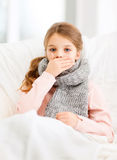 Ill girl with flu at home. Healthcare and medicine concept - ill girl with flu at home Royalty Free Stock Images