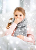 Ill girl with flu at home. Healthcare and medicine concept - ill girl with flu at home Stock Photography