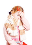 Ill girl having a headache Royalty Free Stock Photo