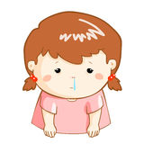 Ill girl runny nose cartoon. Ill girl runny nose because flu disease Royalty Free Stock Photography