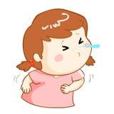 Ill girl sneezing cartoon  Royalty Free Stock Photo