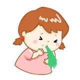 Ill girl vomiting cartoon  Royalty Free Stock Photos