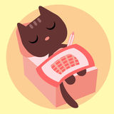 Ill kitty lying in bed Stock Image