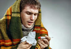 Ill man covered with plaid blanket holding tissue and thermometer. Royalty Free Stock Image