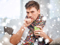 Ill man with flu at home Royalty Free Stock Image