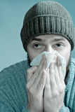 Ill man infected with flu virus or swine fever. Portrait of sore man infected with flu virus Stock Image