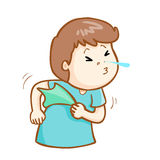 Ill man sneezing cartoon  Royalty Free Stock Image
