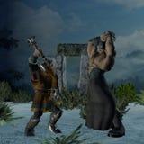 Ill Met by Moonlight. A fierce Dwarven warrior battles a monstrous human barbarian Stock Photo