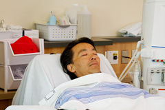 Ill patient on stretcher ready for dialysis Royalty Free Stock Photography