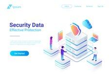 Ill piano isometrico di vettore di protezione dei dati di sicurezza illustrazione vettoriale