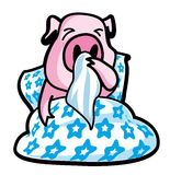 Ill pig. In bed - illustration Stock Image