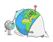Ill Planet Earth with thermometer. royalty free stock images