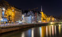 Ill river embankment in Strasbourg - Alsace, France Stock Images