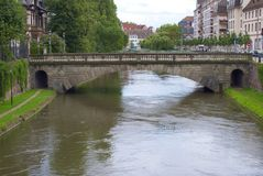 Ill river Strasbourg. Scenic view of bridge over Ill river, Strasbourg city, Alsace, France Royalty Free Stock Photos