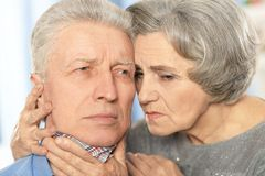 Ill senior couple Stock Image