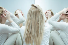 Ill woman with complexes Royalty Free Stock Images