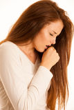 Ill woman cough flu fever Stock Photo