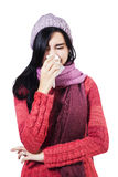 Ill Woman With Flu Sneezing Royalty Free Stock Photos