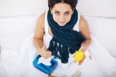 Ill woman get cold and infectious diseases and flu. Woman knows Stock Images