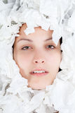 Ill Woman with Paper Tissues Stock Images