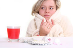 Ill woman and pills royalty free stock photography
