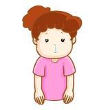 Ill woman runny nose cartoon  Royalty Free Stock Photo