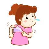Ill woman sneezing cartoon  Royalty Free Stock Photo