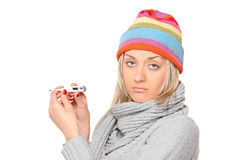 Ill woman with thermometer in her hands Stock Images
