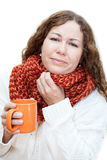 Ill woman with throat pain Stock Image